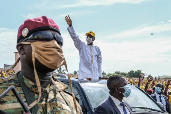 President Alpha Conde is seen at a campaign rally in Conakry, Guinea, Oct. 16, 2020. PA Images.